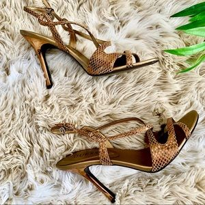 GUESS, Snake Print Strappy Heels
